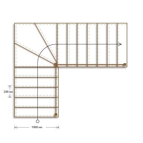 Стоимость облицовки бетонной г-образной лестницы с забежными ступенями